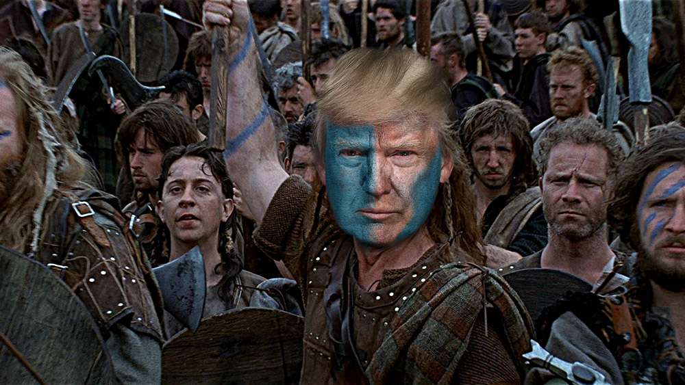 Image: Trump the Braveheart: Any other Republican would have caved by now, but Trump refuses to be bullied or destroyed by the commie-run media